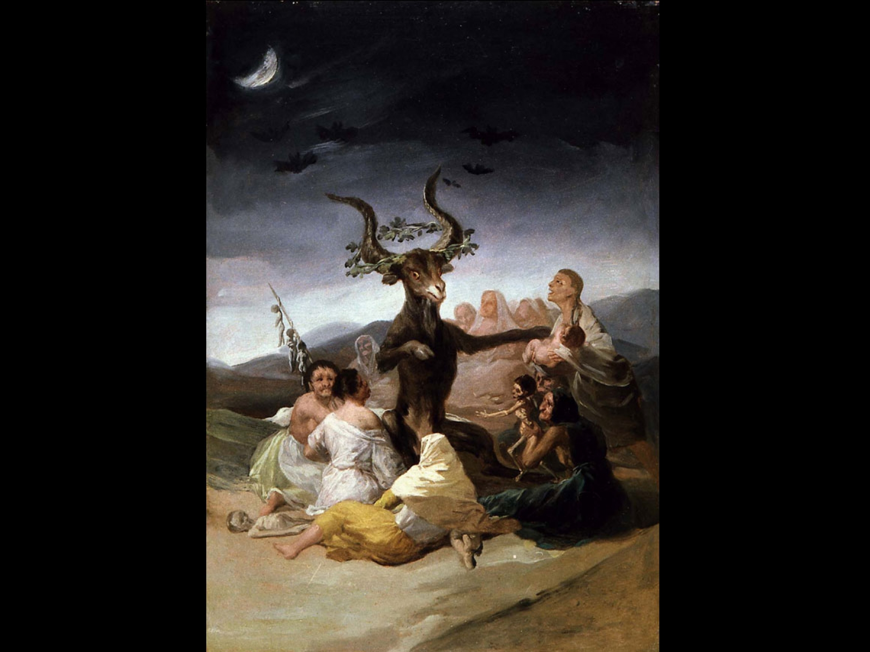 Painting of a goat depicting the devil, surrounded by witches