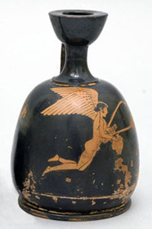Oil flask (squat lekythos), by the Bowdoin Painter. Greek, Early Classical Period, about 470 B.C. Ceramic, red figure. Gift of Edward Jackson Holmes.