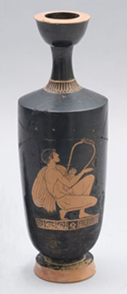 Oil flask (lekythos) with youth playing lyre, by Dorius. Greek, Early Classical Period, about 470 B.C. Ceramic, red figure. Francis Bartlett Donation of 1912.