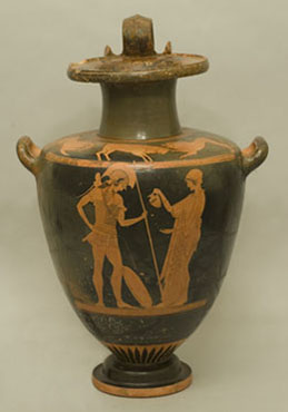 Water jar (hydria) depicting a warrior and a woman making a libation. Greek, Late Archaic Period, about 500-490 B.C. Ceramic, red figure. Henry Lillie Pierce Fund.