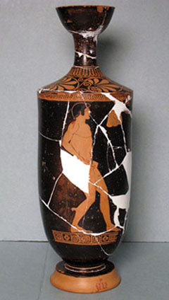 Oil flask (lekythos) with an athlete, by Douris. Greek, Late Archaic Period, about 490-480 B.C. Ceramic, red figure. Catharine Page Perkins Fund.