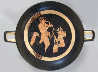 Wine cup (kylix), by Onesimos (formerly attributed to the Panaitios Painter. Greek, Late Archaic Period, about 500 B.C. Ceramic, red figure. James Fund and Museum purchase with funds donated by contribution.