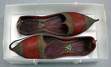 Shoes, Indian, Leather with gilt metal embroidery, and stamped leather lining, 9.2 x 9.5 x 28.8 cm (3 5/8 x 3 3/4 x 11 5/16 in.), Denman Waldo Ross Collection, 25.195a-b.