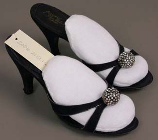 Labeled: Delman, Pair of woman's evening sandals, American, late 1940s–early 1950s, Suede, leather, lucite, rhinestones, Gift of Stewart Shillito Maxwell, Jr. in memory of his mother Marilyn M. Maxwell, 2006.2151.1-2.