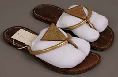 Labeled: Bernardo, Pair of woman's sandals, American, 1960s, Leather, 2 1/2 x 3 7/8 in., 24.8 cm (6.4 x 9.8 cm, 9 3/4 in.), Gift of Stewart Shillito Maxwell, Jr. in memory of his mother Marilyn M. Maxwell, 2006.2146.1-2.