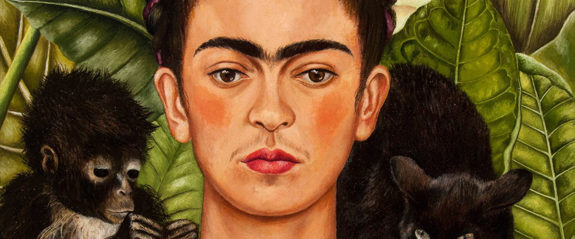 Detail of Frida Kahlo's painting, Self-Portrait with Hummingbird and Thorn Necklace