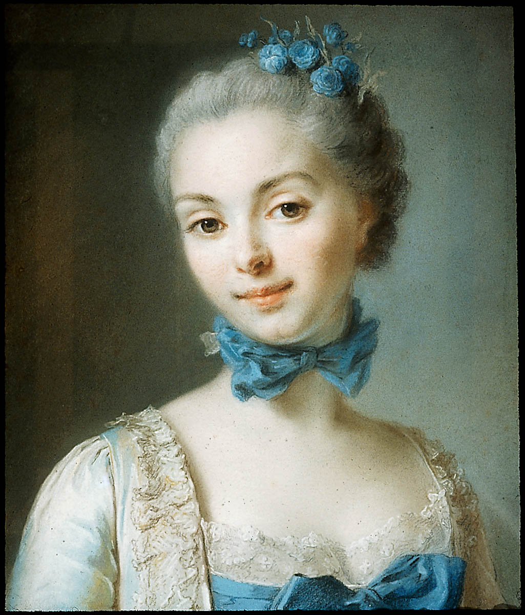 d1d10a5917f Portrait of a Young Woman Wearing a Blue Ribbon at her Throat