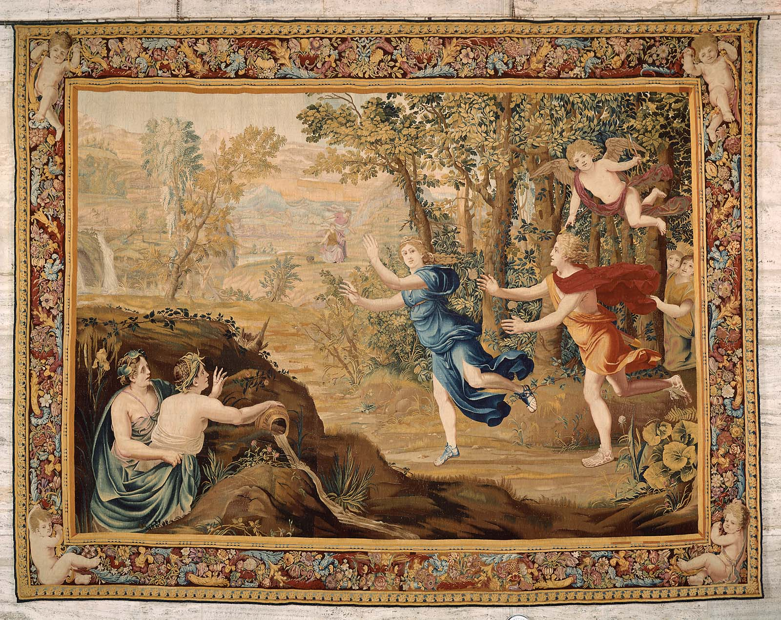 Tapestry Apollo Pursuing Daphne From The Series The