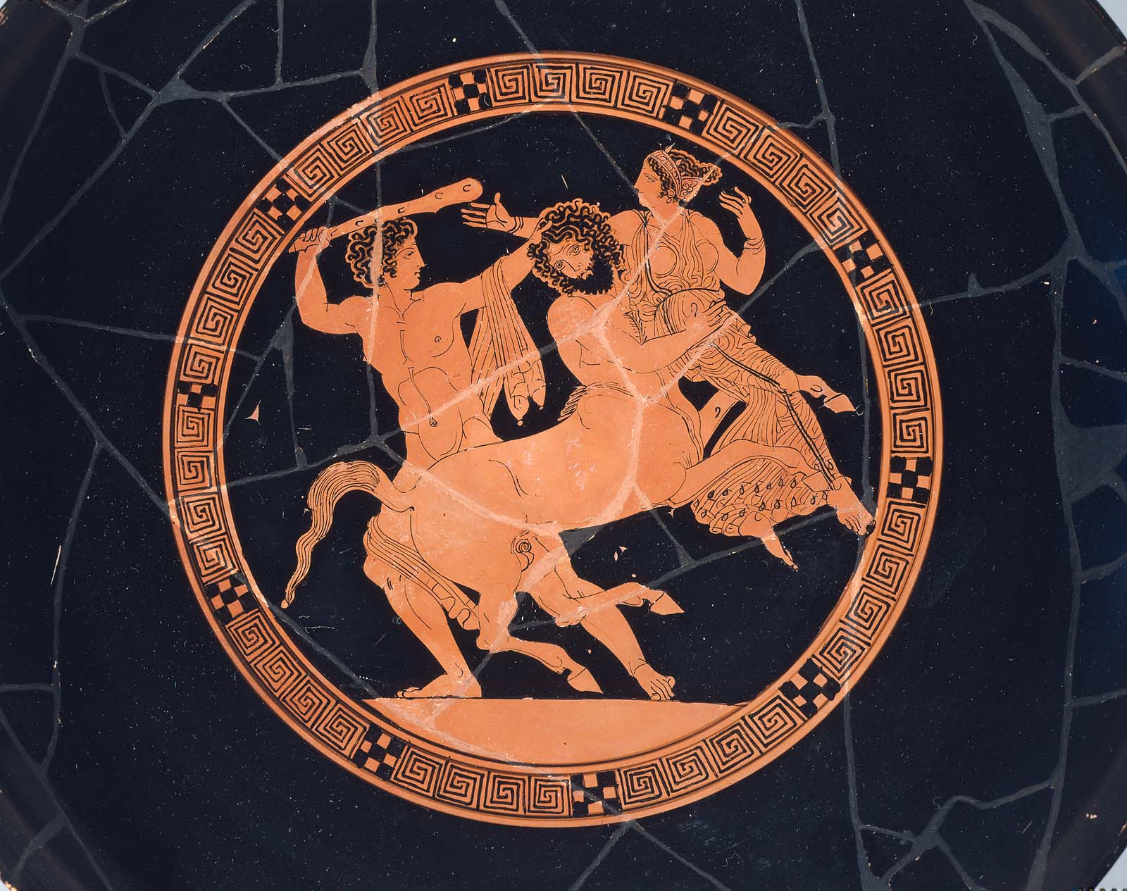 Drinking Cup Kylix Depicting Herakles Rescuing Deianera