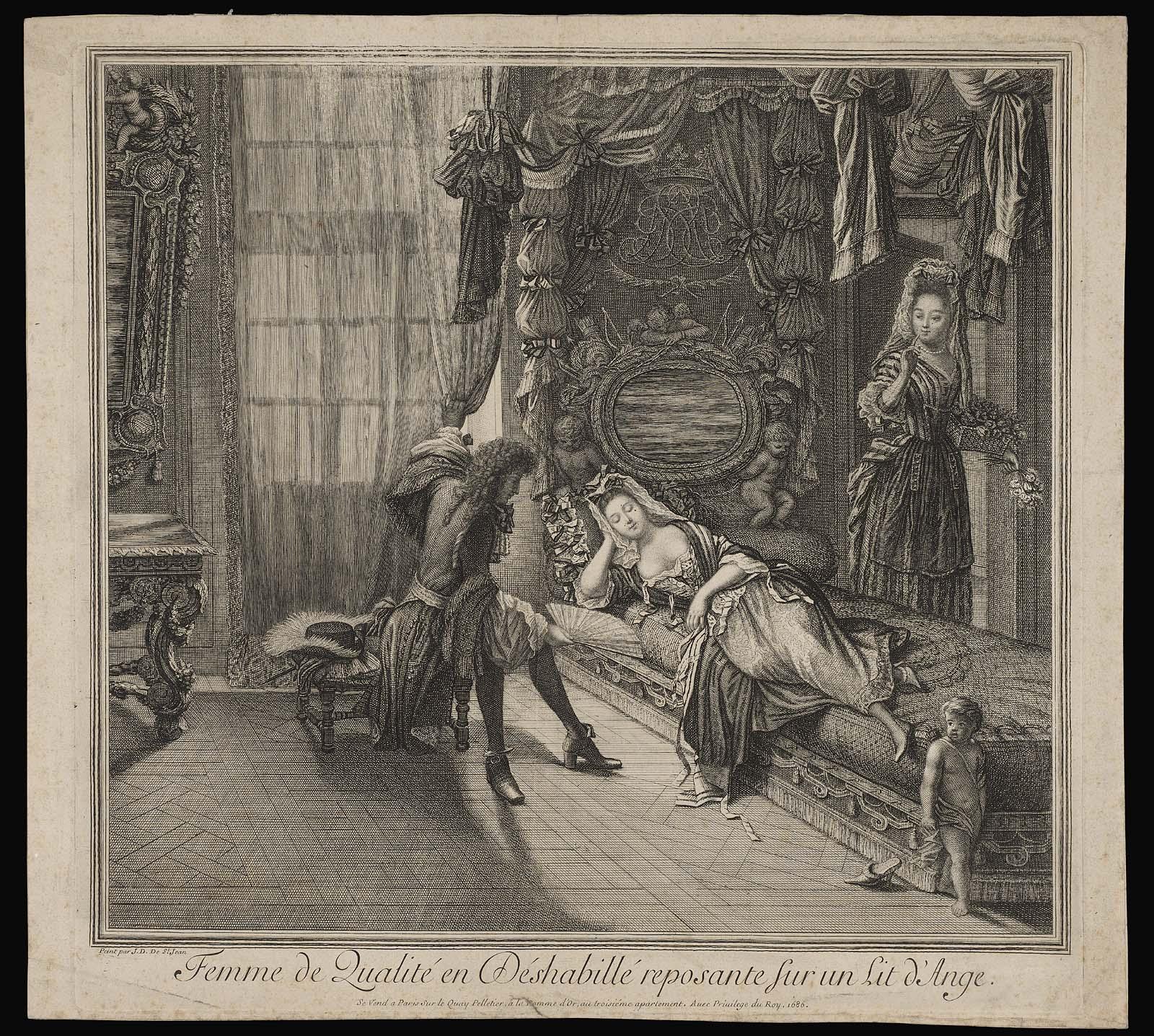 Ange Femme femme de qualité en déshabillé reposante sur un lit d'ange | museum