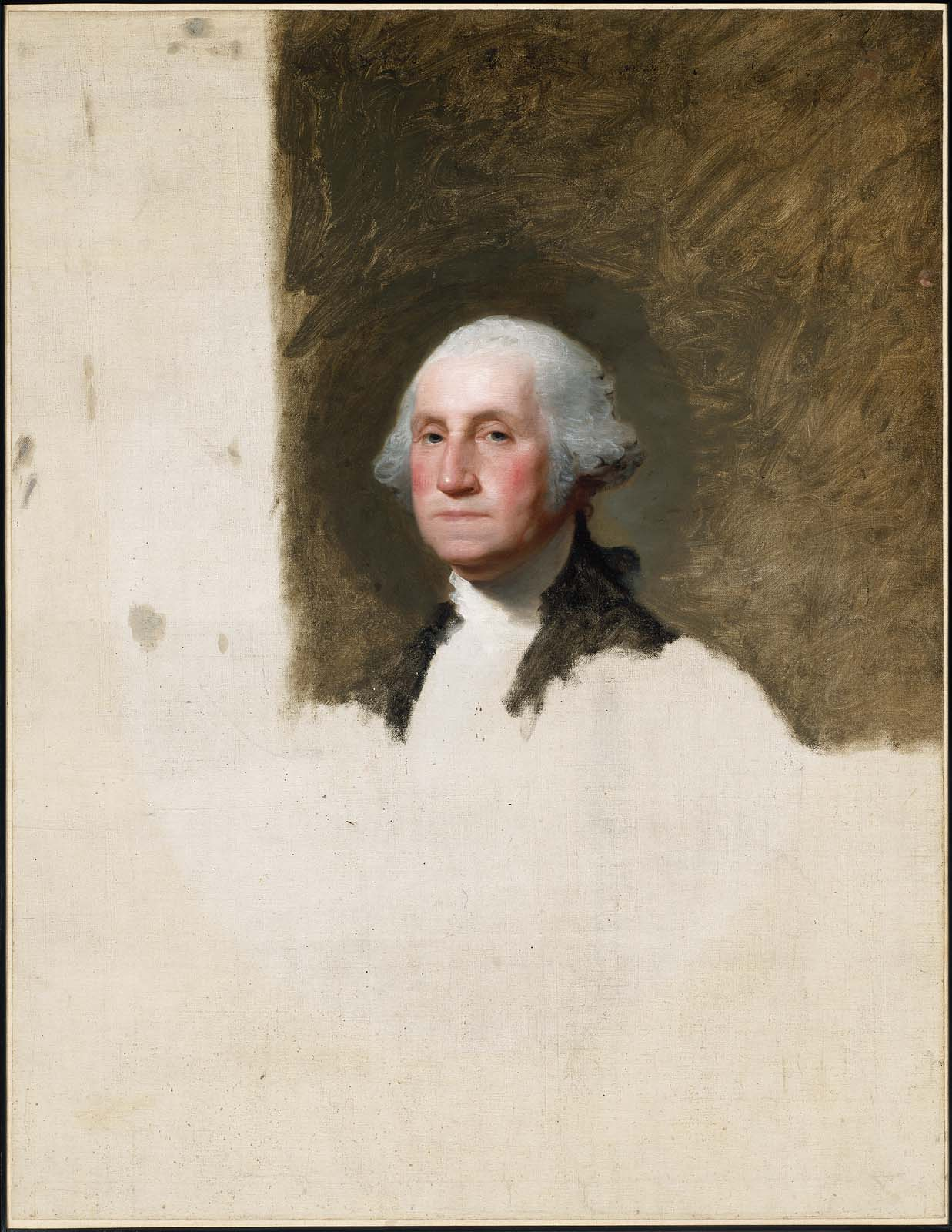 Unfinished portrait of George Washington, by Gilbert Stuart, Museum of Fine Arts of Boston.   Washington left an unfinished experiment in democratic government. Have we listened to his advice on how to keep it?