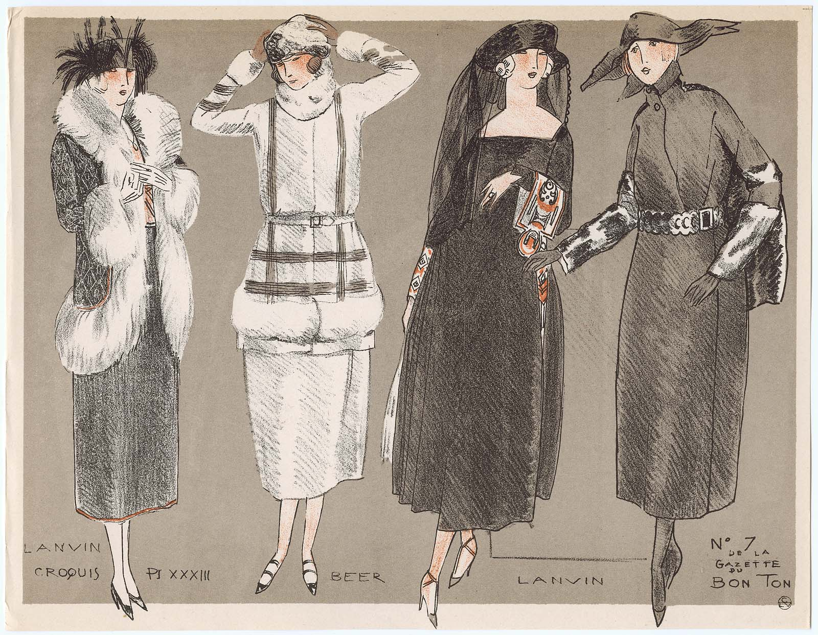 la mode pour l 39 automne 1920 croquis xxxiii from gazette du bon ton volume 2 no 7 museum. Black Bedroom Furniture Sets. Home Design Ideas