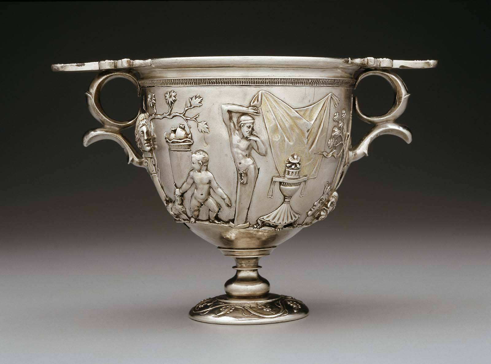 Two Handled Cup Skyphos With Bacchic Scene Museum Of