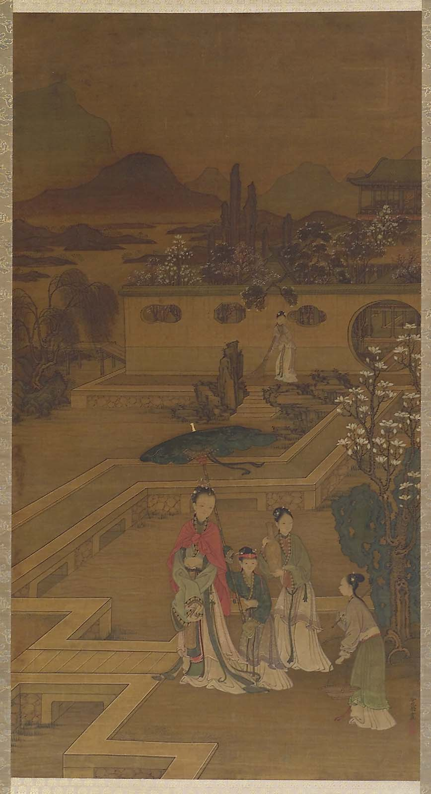 Lady with attendants in a garden | Museum of Fine Arts, Boston