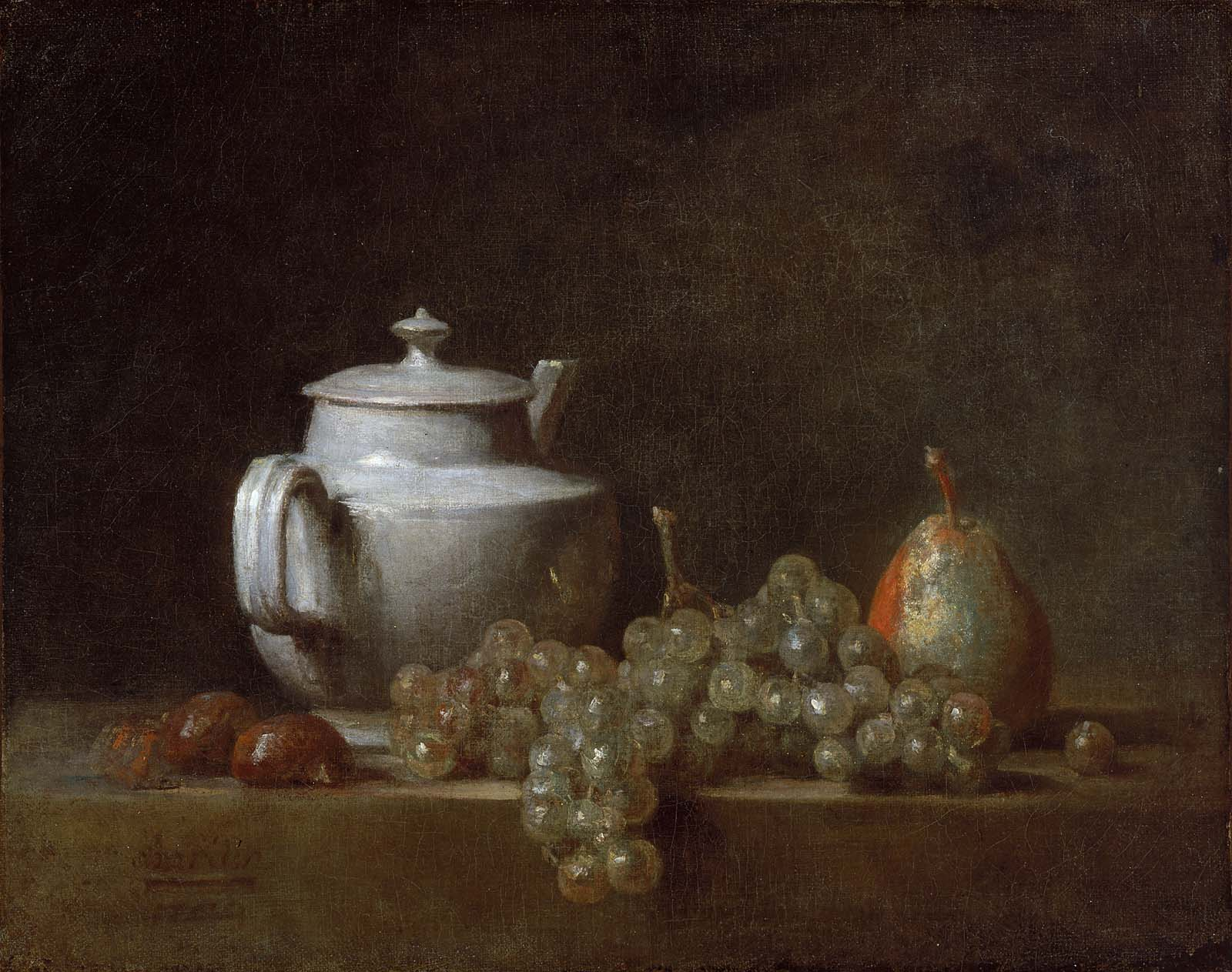 Still Life with Teapot Grapes Chestnuts and a Pear