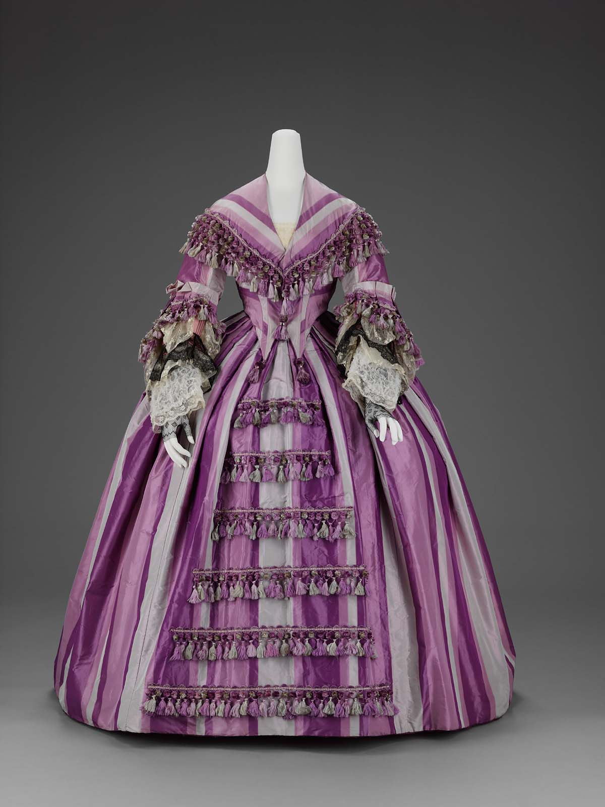Purple ombre triped silk dress, late 1850s, from the Museum of Fine Arts, Boston