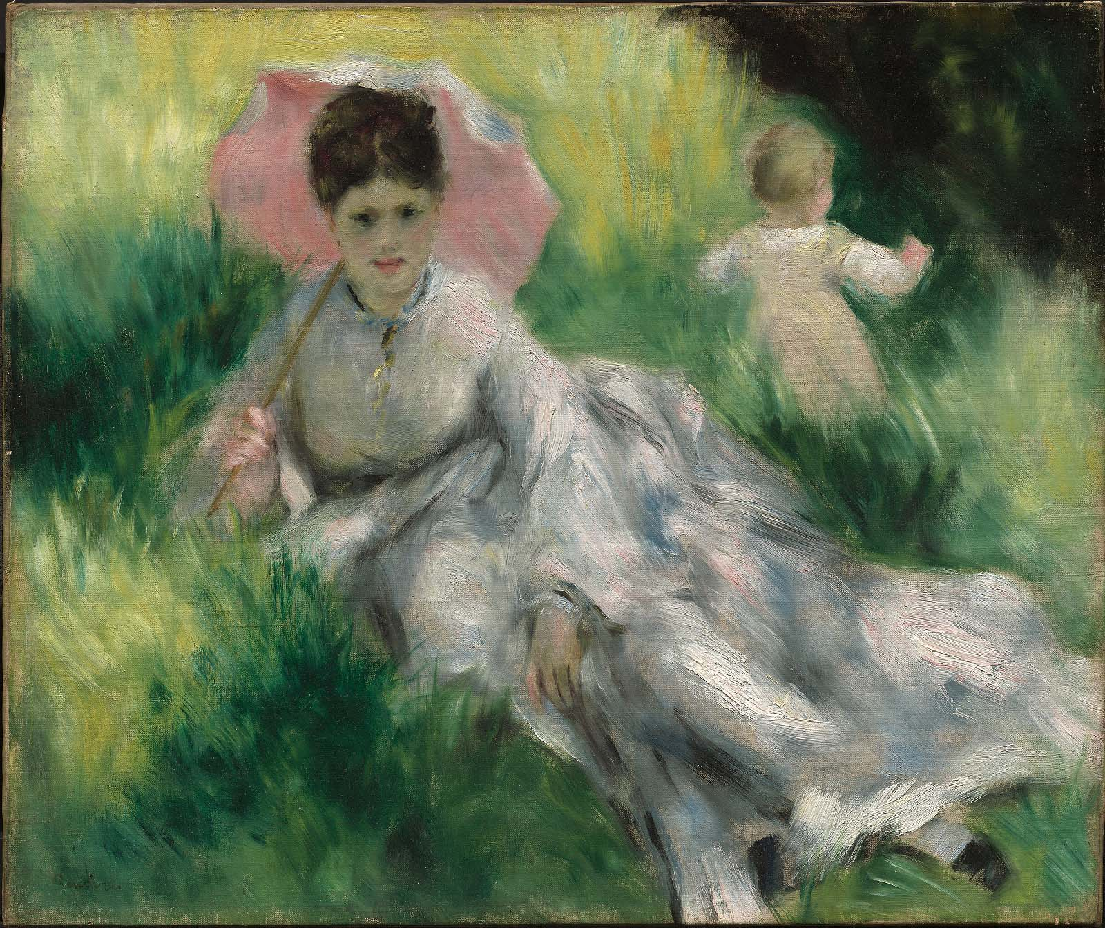 Woman With A Parasol And Small Child On A Sunlit Hillside