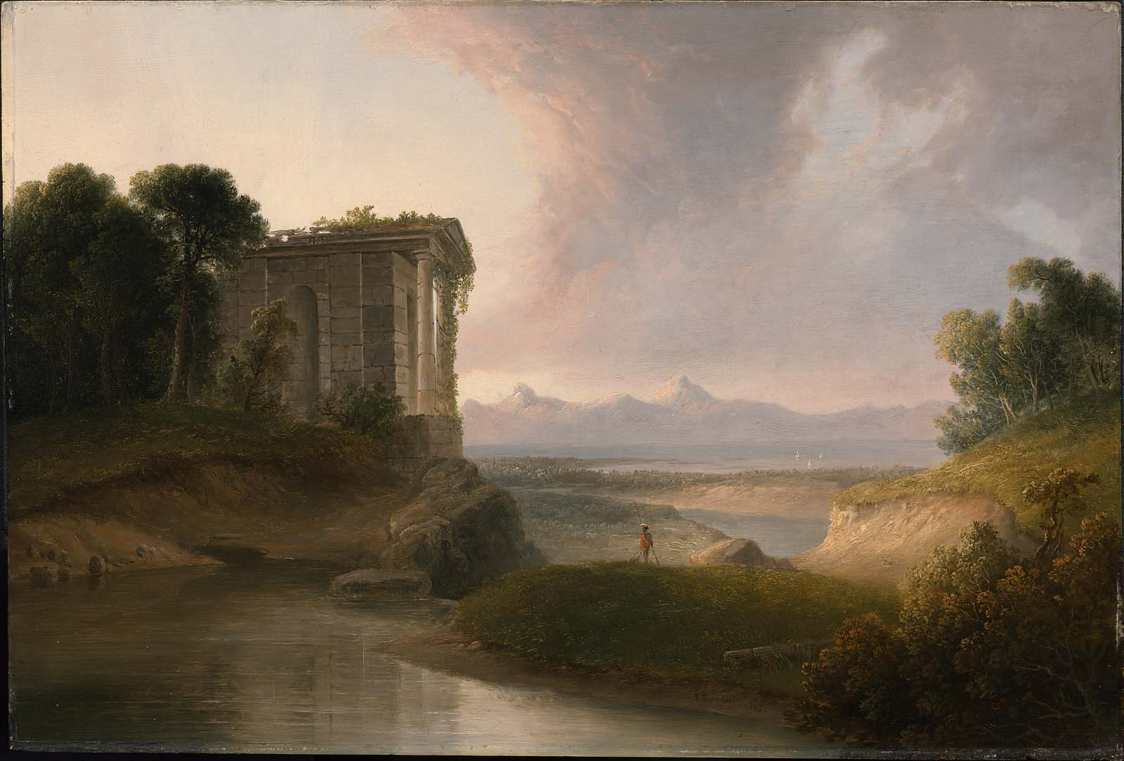 Romantic Landscape with a Temple, by Thomas Doughty,