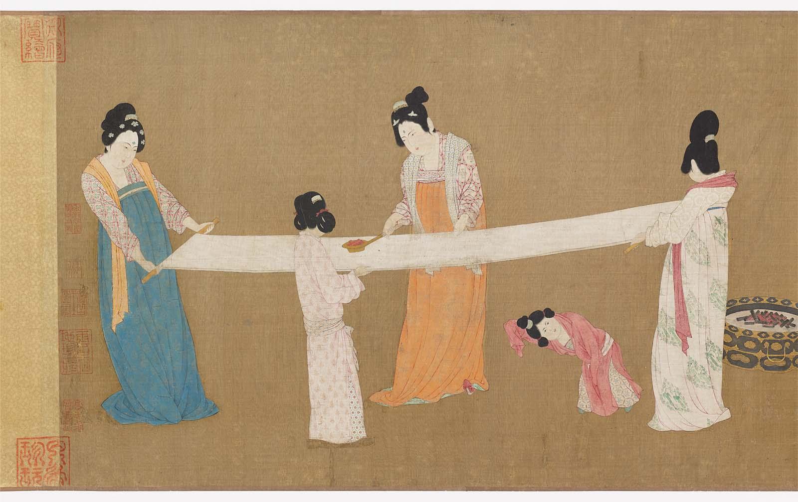 ผลการค้นหารูปภาพสำหรับ Court Ladies preparing Newly-Woven Silk แปลว่า