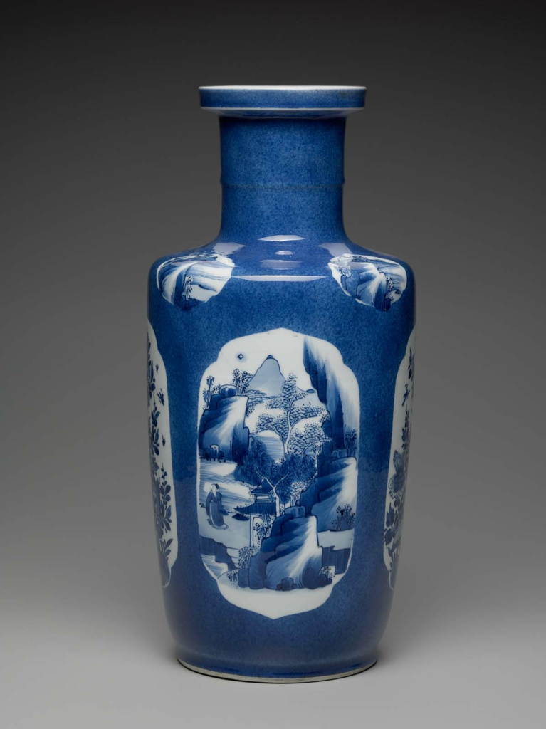 Bangchuiping Shaped Vase With Blue And White Decoration Of Landscape