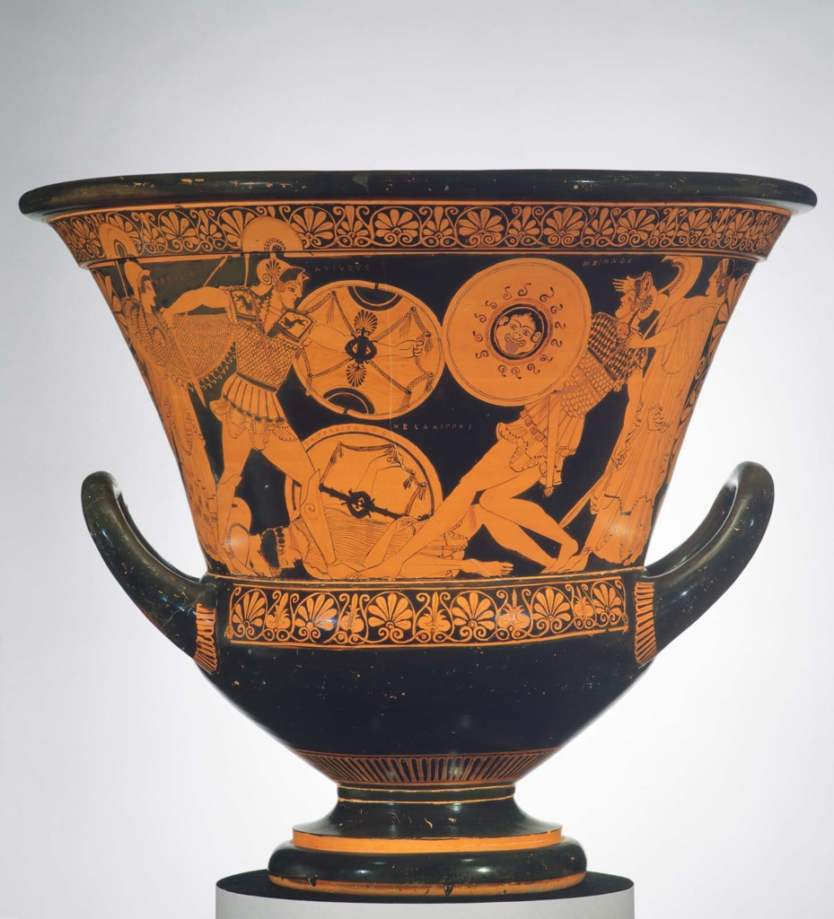 Mixing Bowl Calyx Krater Depicting Dueling Scenes From