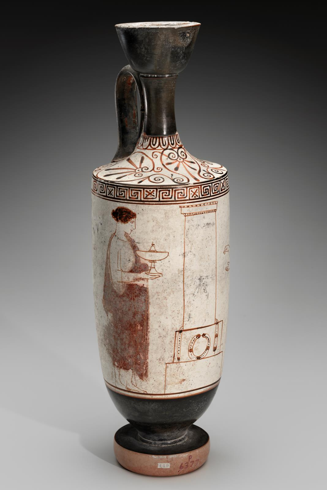 Oil Flask Lekythos Depicting Two Women At A Grave Stele