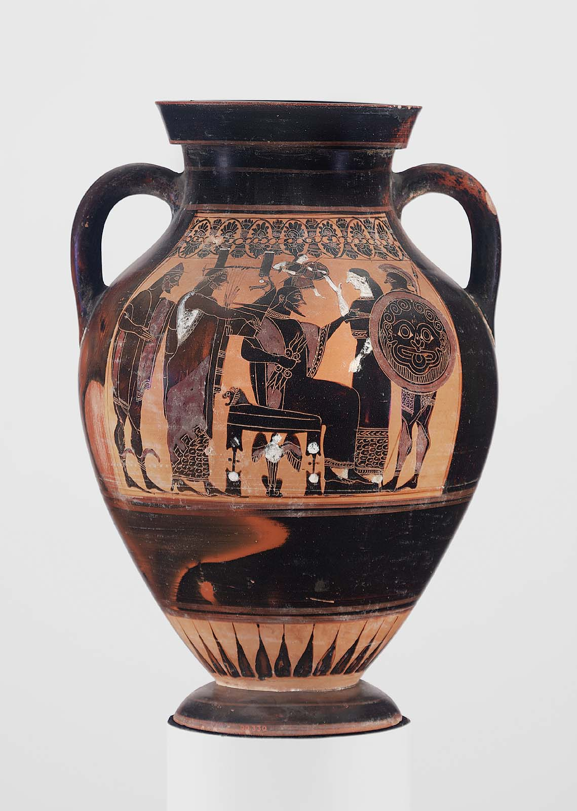 Two Handled Jar Amphora Depicting The Birth Of Athena