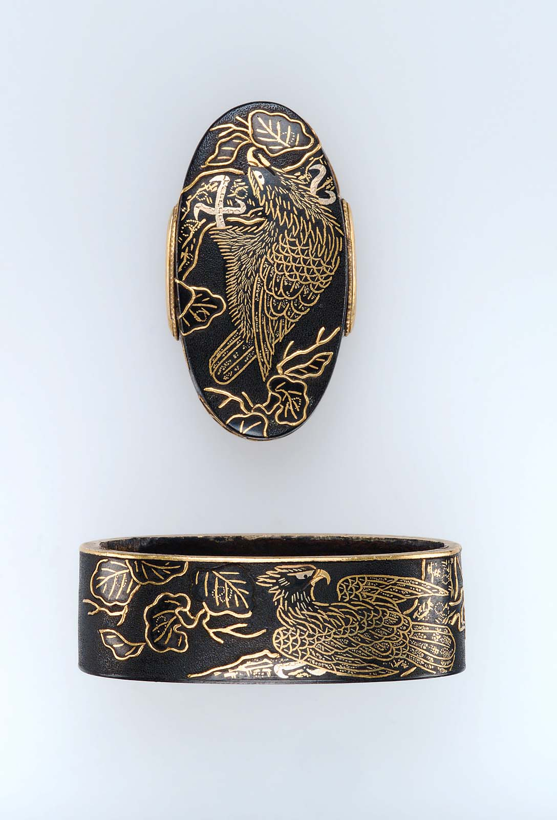 Fuchi-kashira with designs of eagles and creepers | Museum of Fine ...