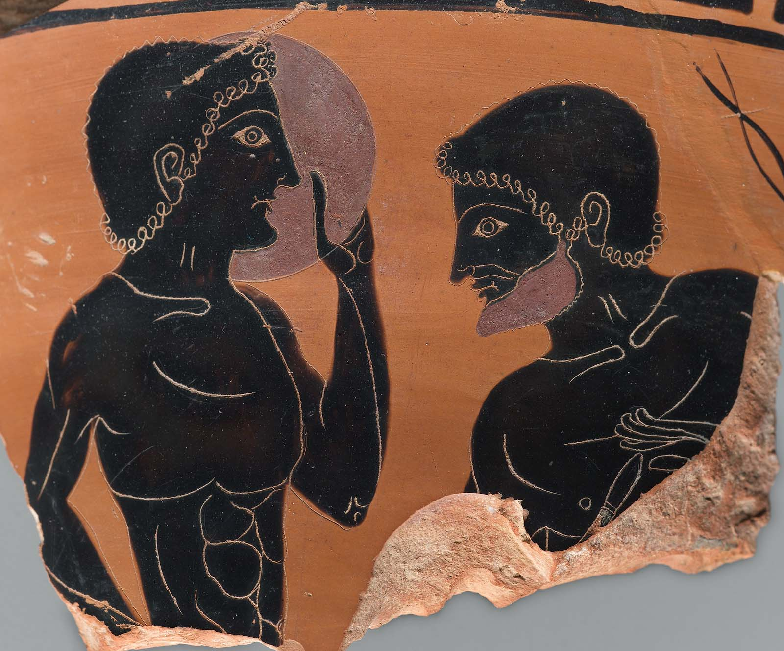 Fragments of a vase for carrying bath water (loutrophoros) depicting a  youth 9dd6d655d94ac