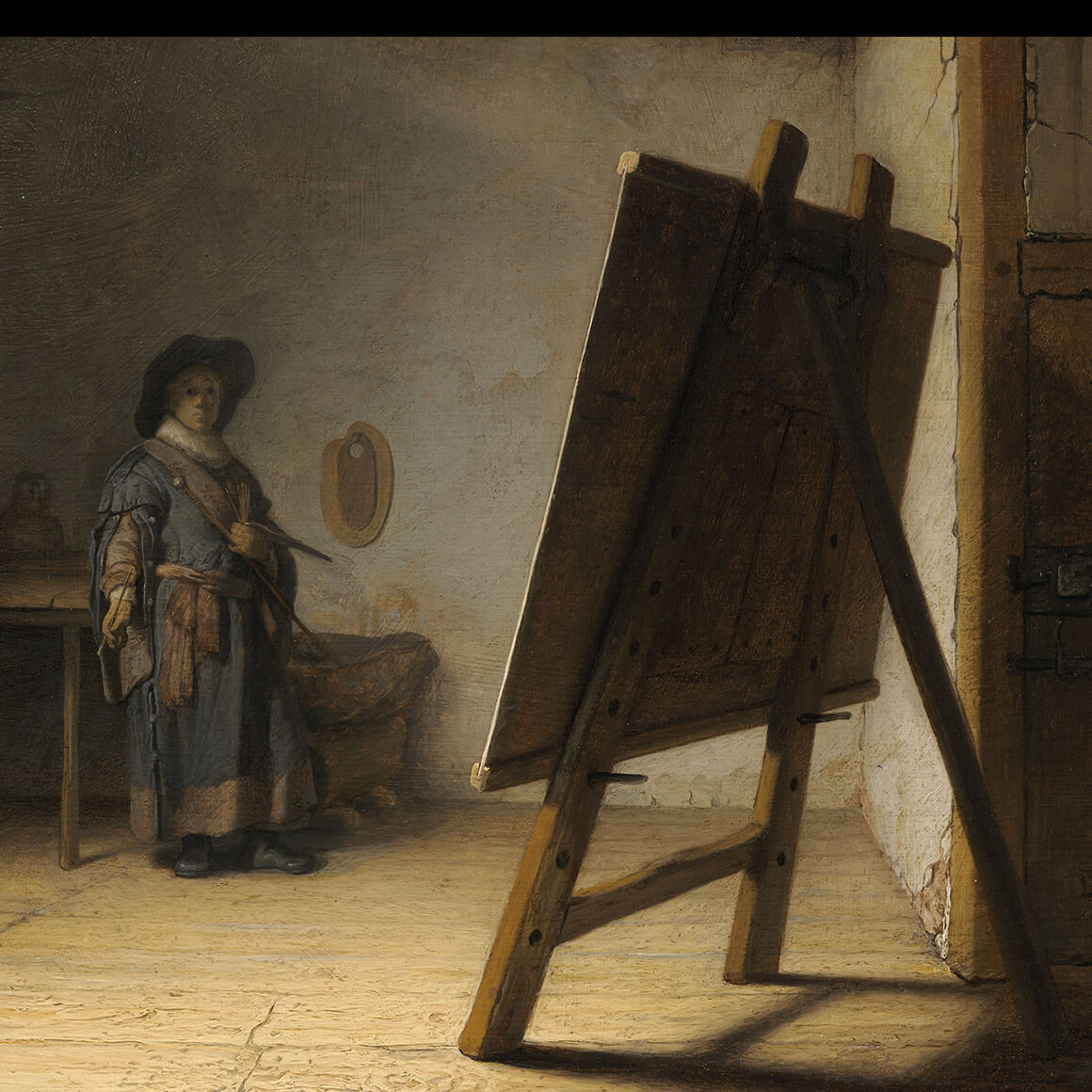 Detail of Rembrandt's painting, Artist in His Studio