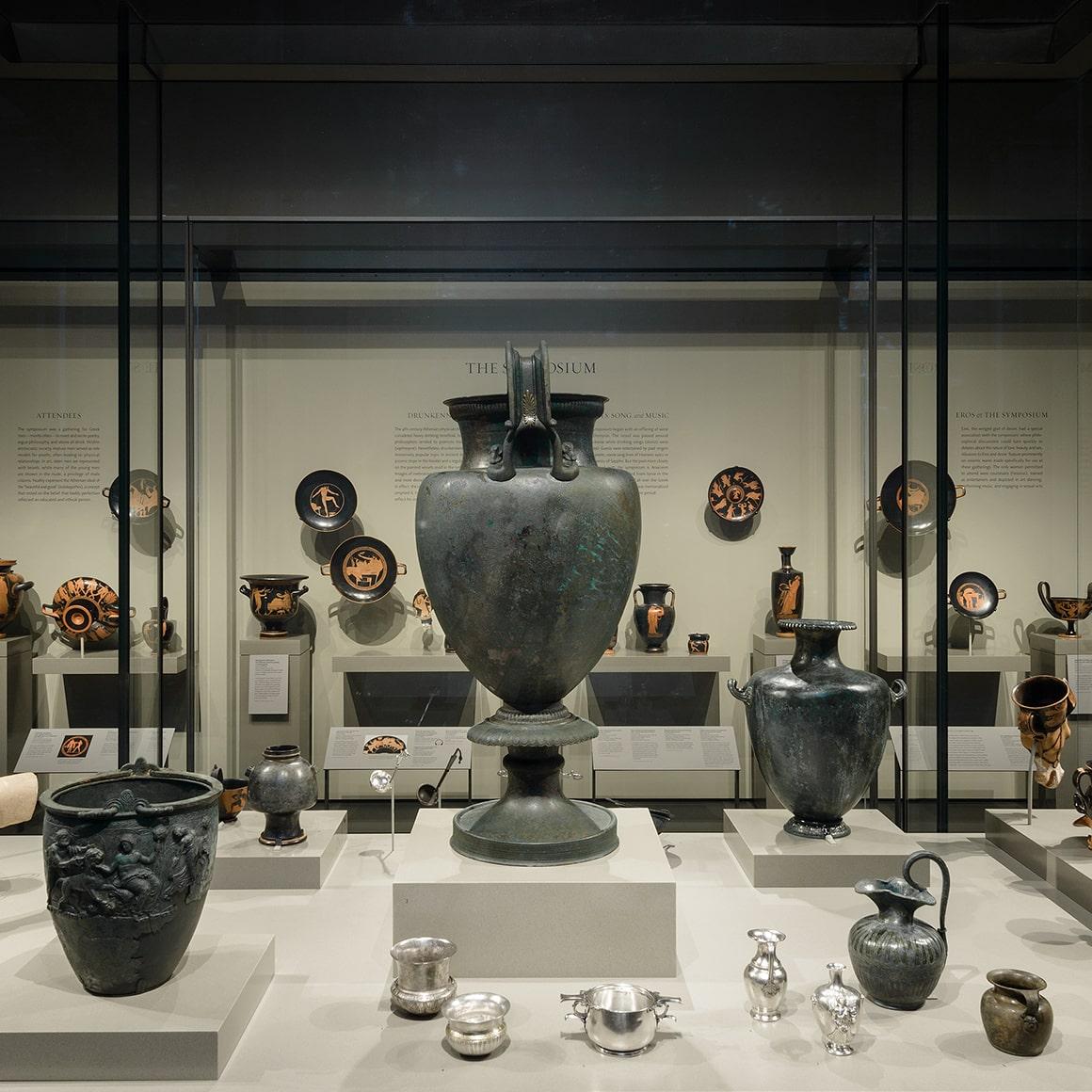 View of Greek ceramics displayed in Gallery 215B