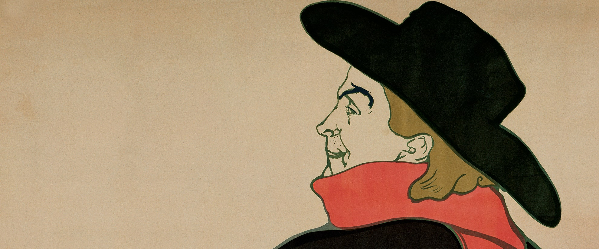 Detail of the poster,  Aristide Bruant in His Cabaret, by Toulouse-Lautrec