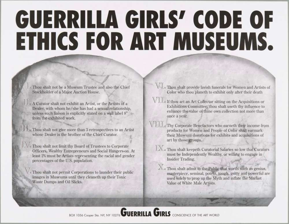 Line Drawing Technique Ethics : Guerrilla girls code of ethics for art museums museum