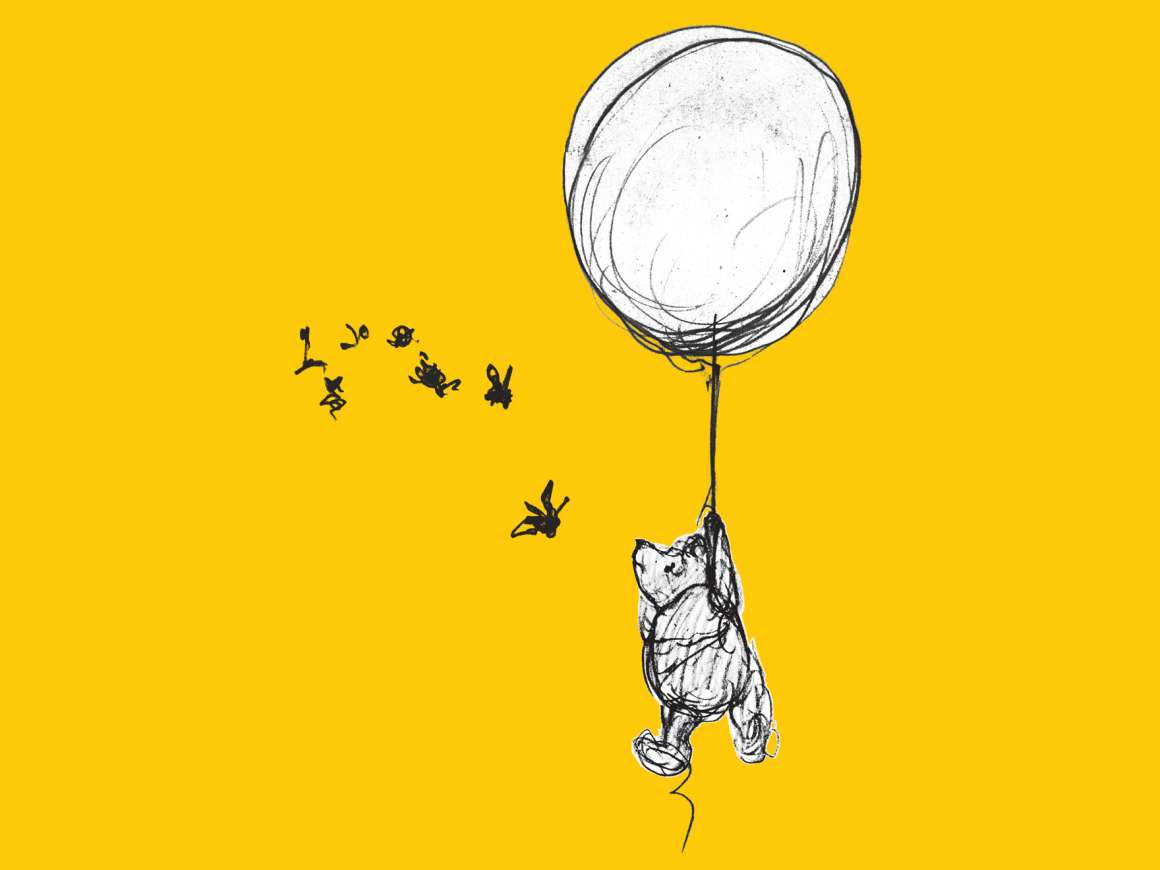 Drawing of Winnie-the-Pooh holding on to balloon, chasing swarm of bees
