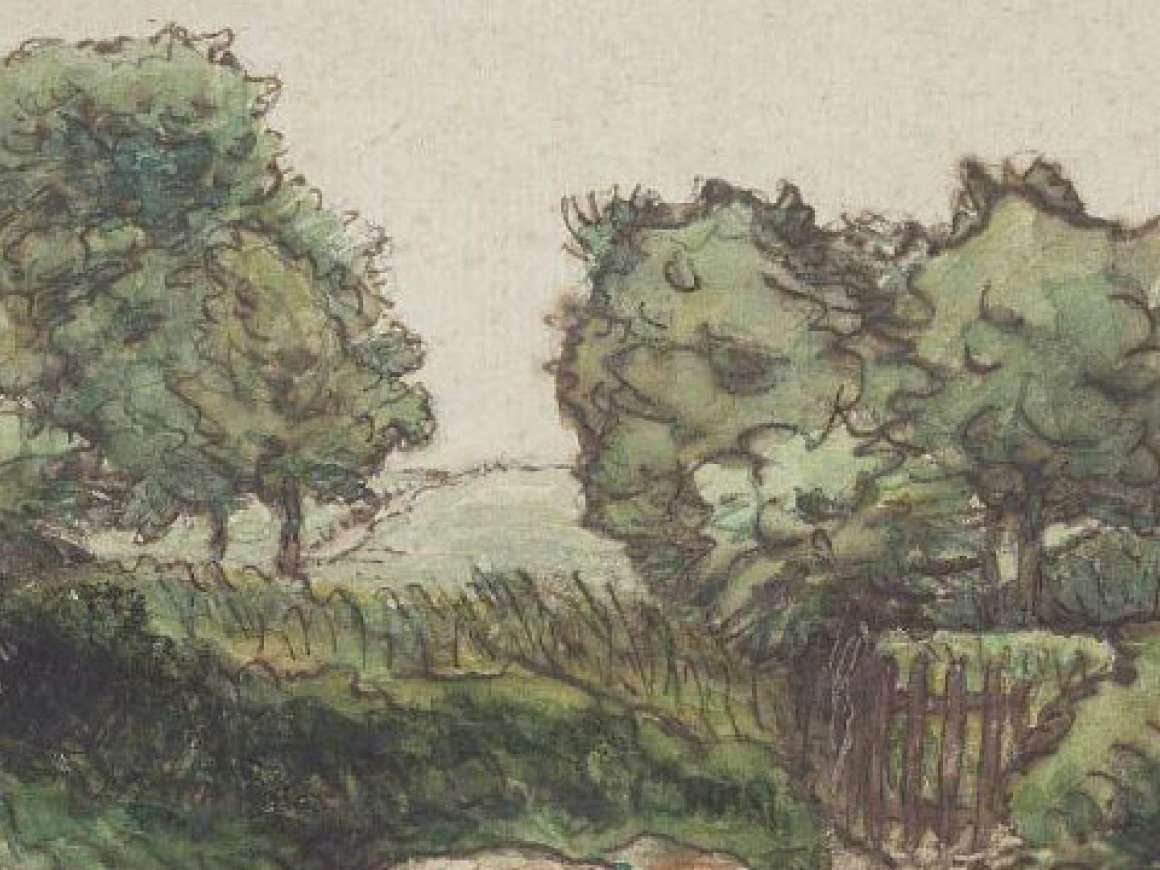 Detail of Jean-François Millet's drawing, Orchard Fence near Vichy The Garden Fence