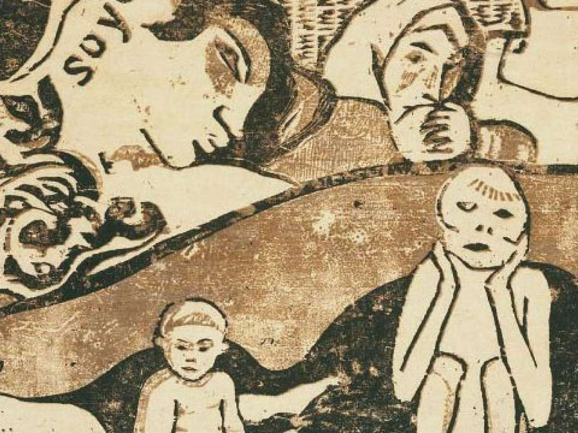 Detail of Paul Gauguin's print, Soyez amoureuses, vous serez heureuses (Love, and You Will Be Happy)