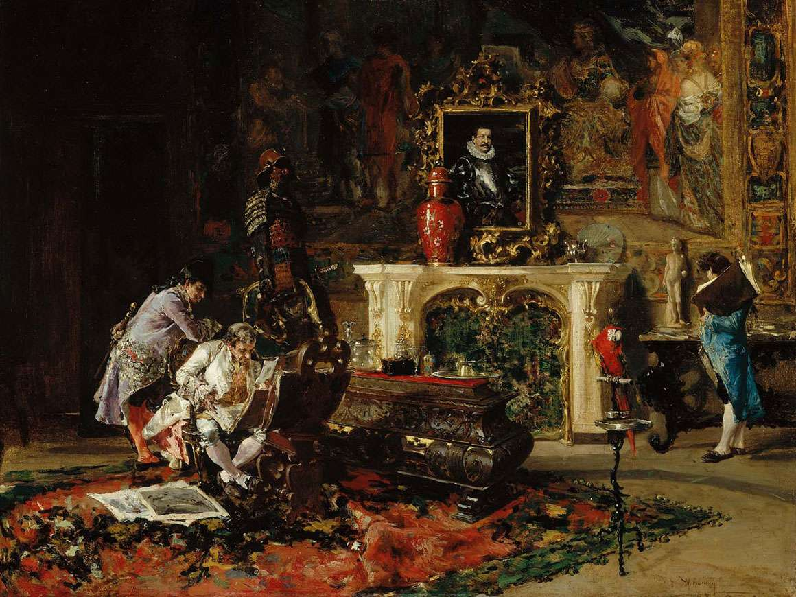 Detail of Antiquaries, a painting by Mariano José Maria Bernardo Fortuny y Carbó