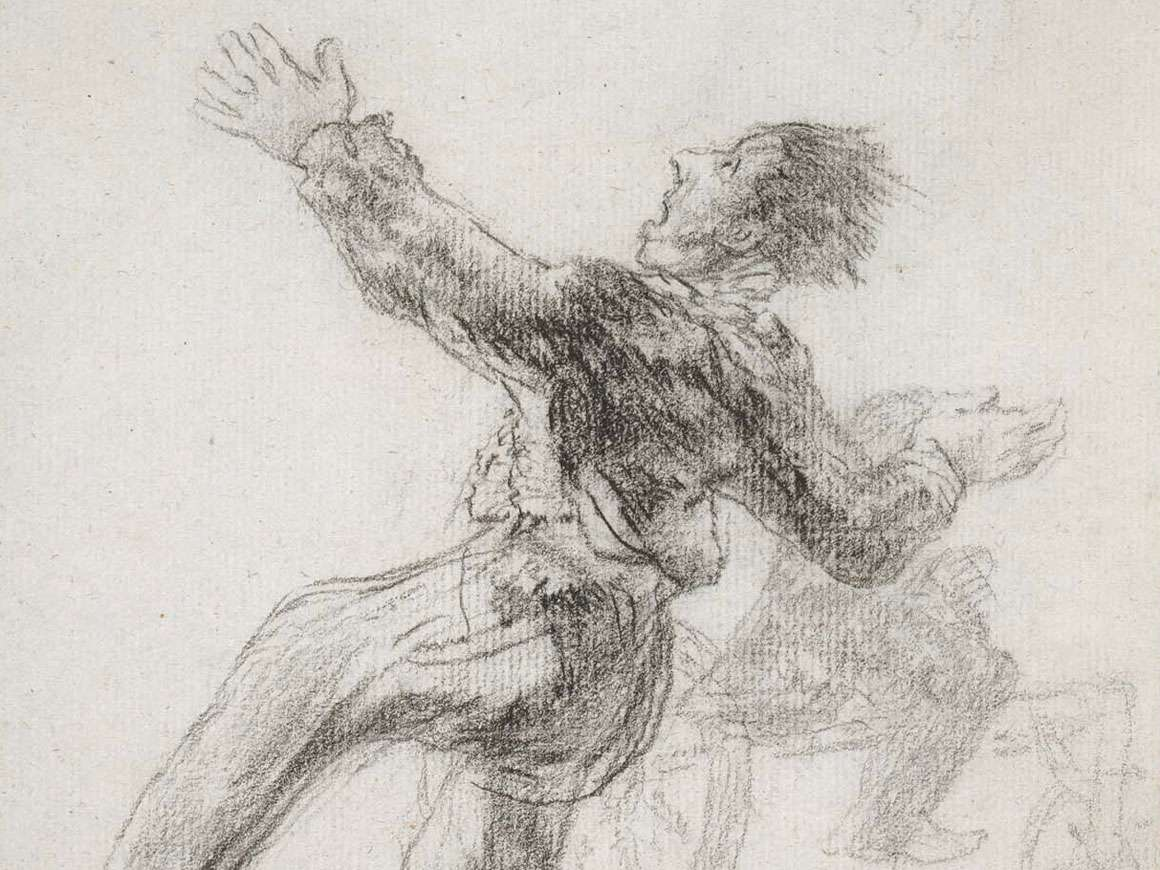 Crazy Skates, a drawing by Goya of a person on roller skates about to fall backwards