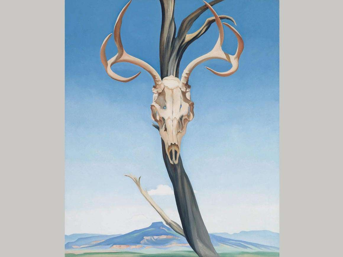 Georgia O'Keeffe's painting, Deer's Skull with Pedernal