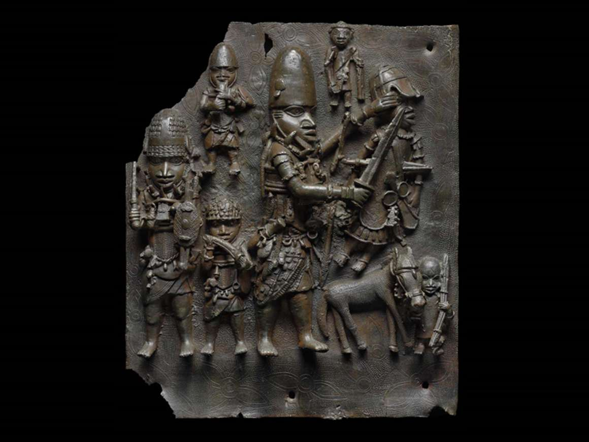 Copper relief plaque of men in various sizes, all in armor holding weapons