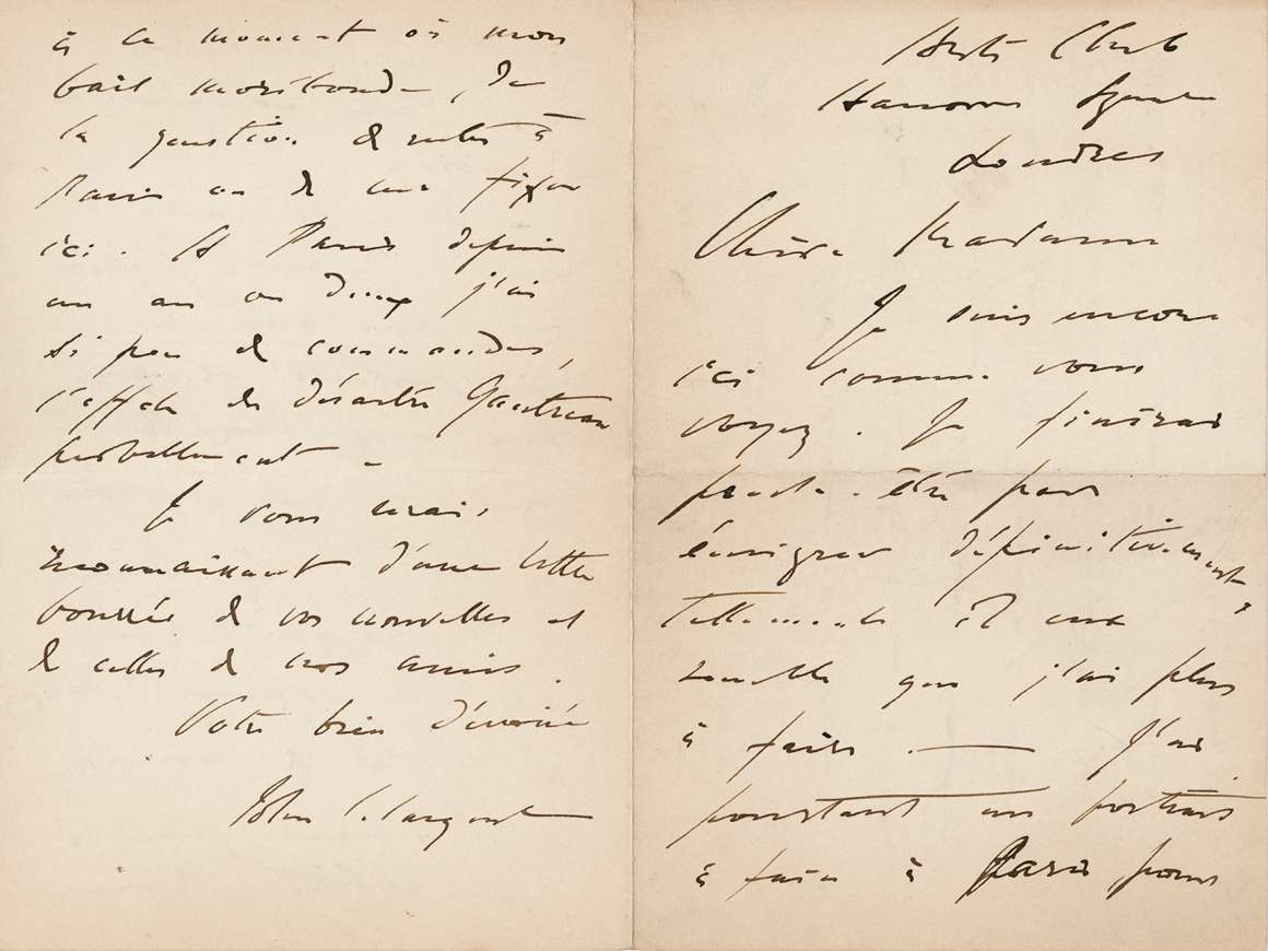 John Singer Sargent to Emma-Marie Allouard-Jouan, n.d. [1885], from the Arts Club, Hanover Square, London