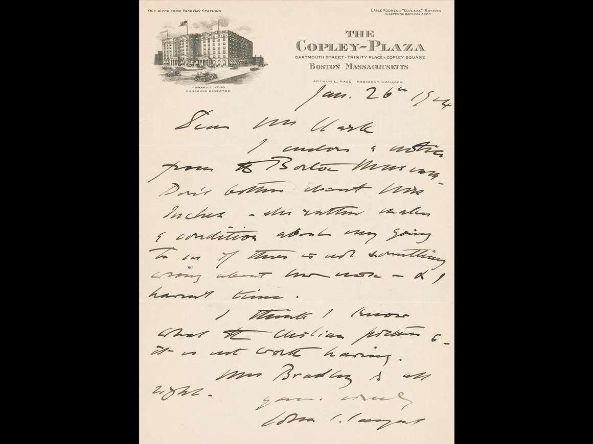 John Singer Sargent to Walter L. Clark