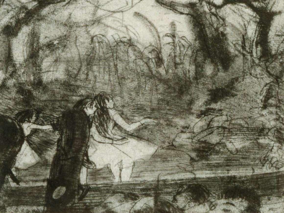 Detail of Edgar Degas' print, On Stage III
