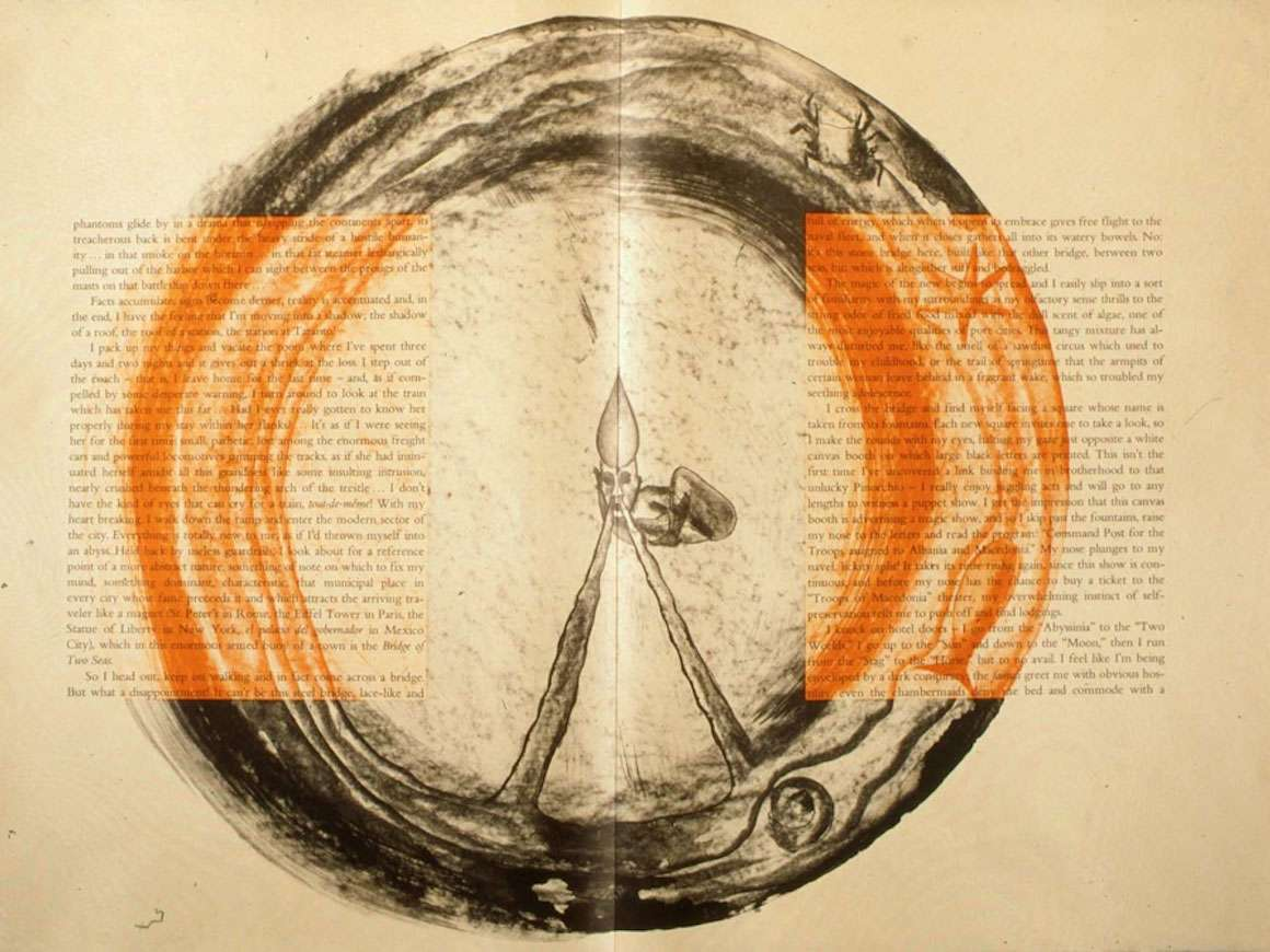 Pages from book, The Departure of the Argonaut, illustrated by Francesco Clemente,