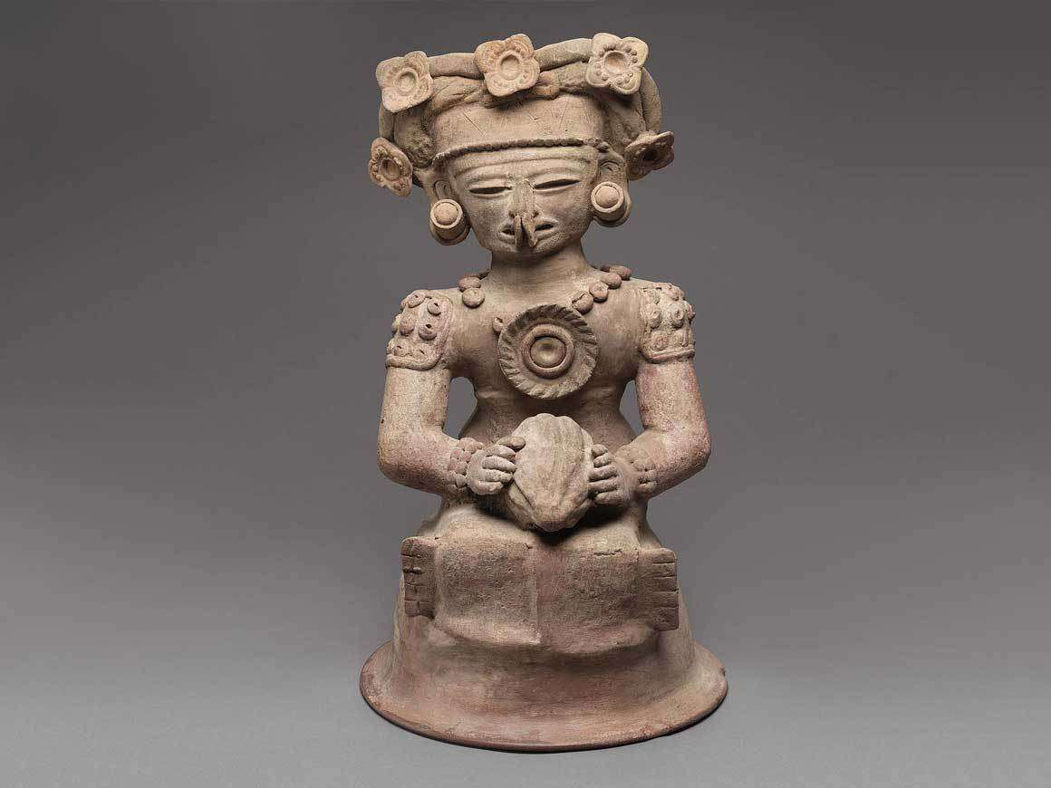 Human effigy incense burner top, Maya, Late Classic Period, A.D. 400–550