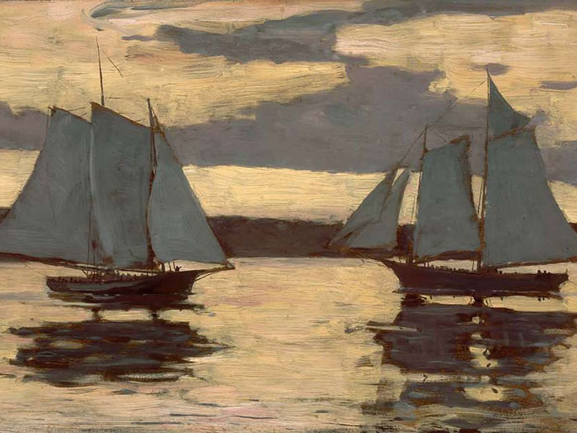Detail of Winslow Homer's painting, Gloucester Mackerel Fleet at Sunset