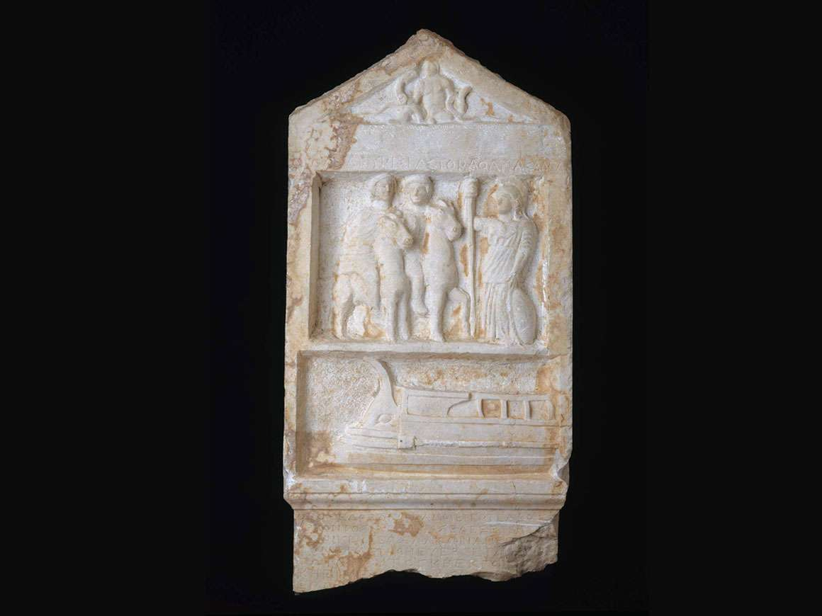 Stele depicting infant Herakles, Kastor, Polydeukes,Athena Alea, a war ship, and a proxeny decree, Greek, Classical Period, about 365–363 B.C.