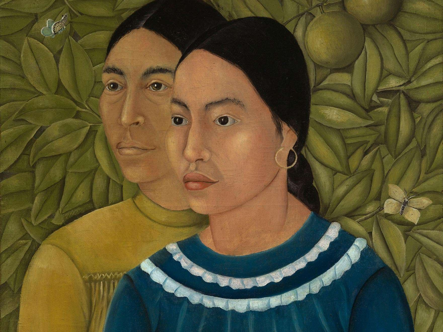 Detail of Frida Kahlo's painting, Dos Mujeres (Salvadora y Herminia)