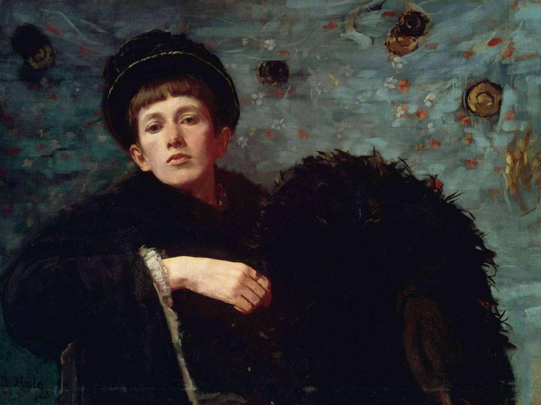 Self portrait of Ellen Day Hale, serious and austere oil on canvas