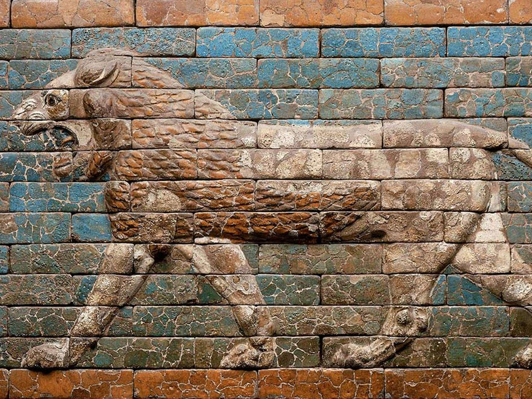 Near Eastern, Mesopotamian, Babylonian, Striding lion, 604–561 B.C.